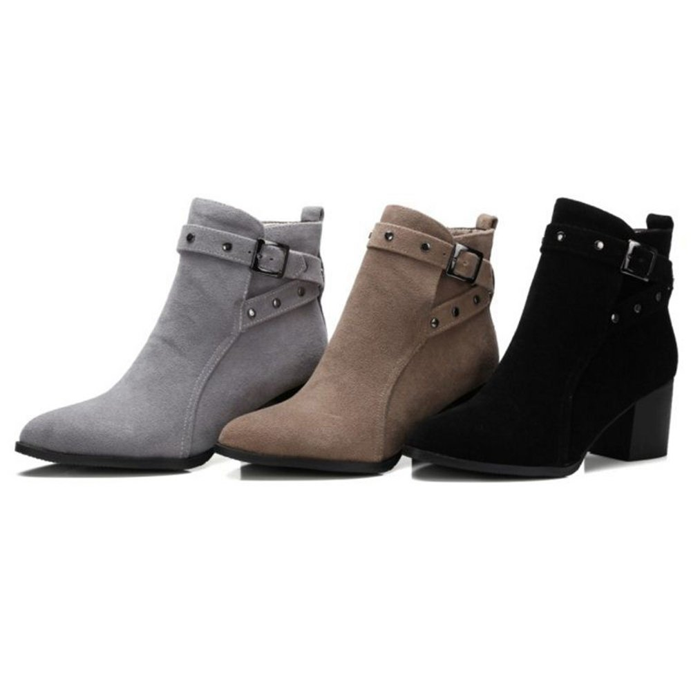 Onewus Plus Size & Mini Size Boots Women Fashion Pointed Toe Ankle Booties