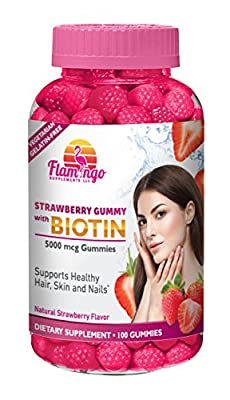 Extra Strength Biotin Gummies By Flamingo Supplements: Strawberry-Flavored, Chewable, Gluten/Gelatin Free, 100% Vegetarian, Kosher, Halal Vitamins-Nutritional/Dietary Supplement For Hair, Nails & Skin
