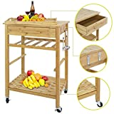 F2C Natural Bamboo Rolling Kitchen Island Trolley Cart Storage Cart Rack Shelf Organizer W/Drawer (Bamboo Kitchen Island)