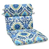 Pillow Perfect Outdoor Santa Maria Rounded Corners Chair Cushion, Azure