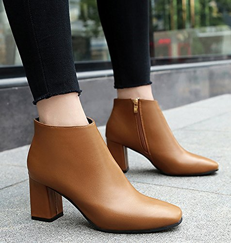Cheville Boots Fashion Low Bout Carr Femme Chunky Aisun 7qwOxEvfP