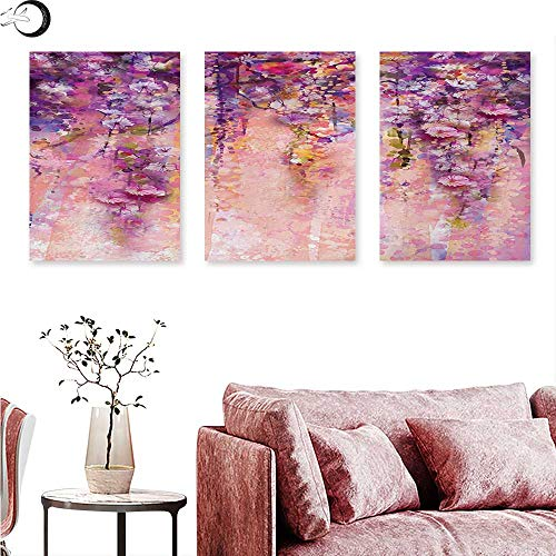 Anniutwo Flower Poster Prints Watercolor Painting Effect Wisteria Tree Blossoms Soft Scenic Spring Display Triptych Wall Art Pink Violet Purple W 20