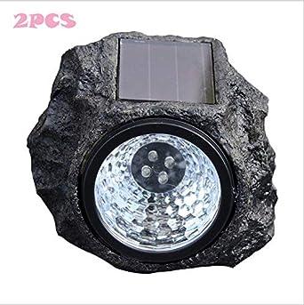 2 Pack Solar Rock Lights 4 LED Decorativos de Piedra de Energía ...