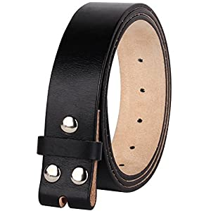 "NPET Men's Full Grain 100% Leather Vintage Genuine Belt without Belt Buckle 1.5"" Wide"