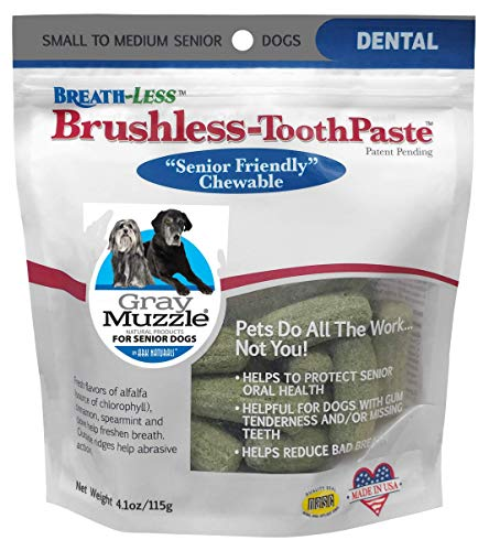 Ark Naturals Gray Muzzle Breath-less Brushless Toothpaste, Vet Recommended Natural Dental Chews for Small to Medium Senior Dogs, Plaque, Tartar and Bacteria Control -