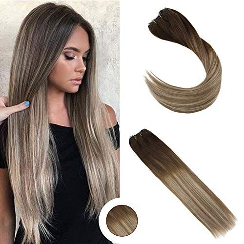 Ugeat 18inch Double Weft Natural Human Hair Micro Beads Hair Extensions 50Gram 100% Real Micro Beads Extensions Ombre Brown Mixed Blonde