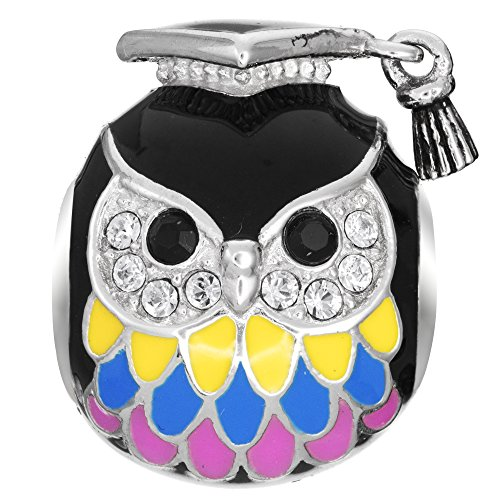 Qina C Rhodium On 925 Sterling Silver Owl Graduation Cap Teacher European Style Bead Charm Made with Swarovski Crystals