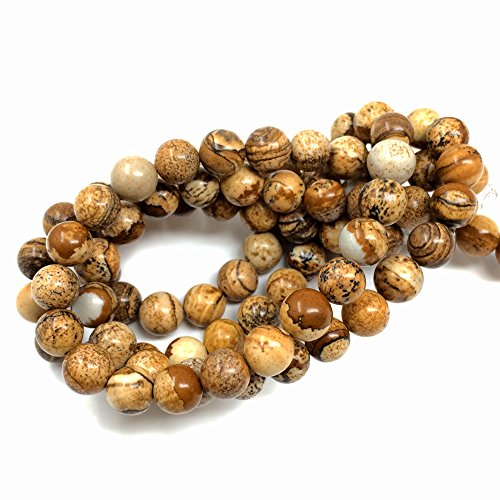 Chengmu 8mm Brown Picture Jasper Beads Natural Gem Round Loose Beads for Jewelry Making for Bracelet Necklace