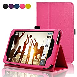 Acdream Asus Memo Pad 7 Lte Case, Premium Pu Leather Smart Cover Case For At&t Asus Memo Pad 7 Lte Gophone Prepaid Tablet Me375cl, Hot Pink