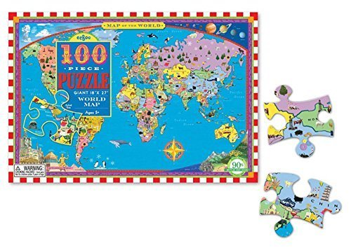 World Map 100 Piece Piece 100 Puzzle by eeBoo a2fbbb