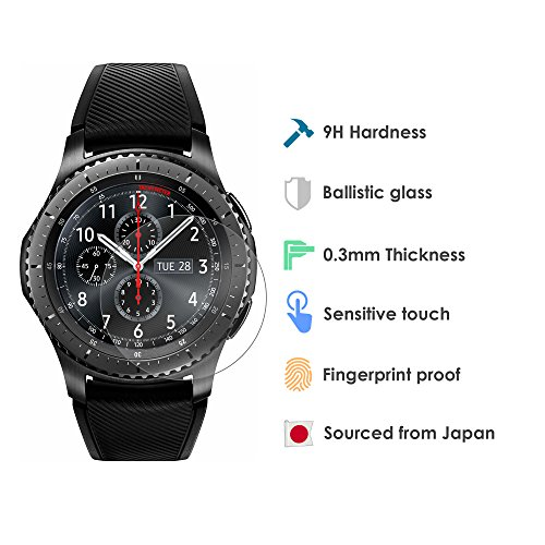 ABA iTec Samsung Gear S3 Watch Tempered Glass Screen Protector – Premium 9H Japanese Ballistic Glass Protection – 2 Pack – Perfect Size, HD Clarity, Super Thin Accessory for The Classic Frontier