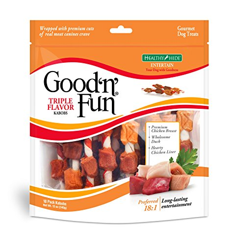 Beef Jerky Good Dogs - Good'N'Fun Triple Flavored Rawhide Kabobs For Dogs, 12 Oz