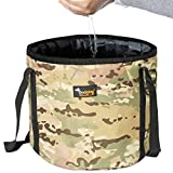 Ondoing Collapsible Bucket Portable Folding Water Container Basin Camping Hiking Fishing Outdoors (L, Camo Green)