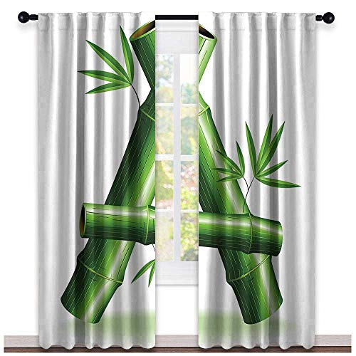 hengshu Letter A, Curtains Elegant, Green Bamboo Style Font First Letter of The Alphabet Nature Inspired Illustration, Curtains Girls Bedroom, W108 x L96 Inch Green White