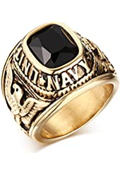 Amazon.com: US Military Veteran Ring Stainless Steel (Gold