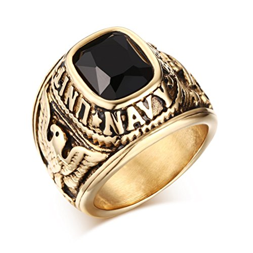 United States Navy Rings,Marine Corps,USMC,Stainless Steel Gold Plated Black CZ Stone ,Size ()