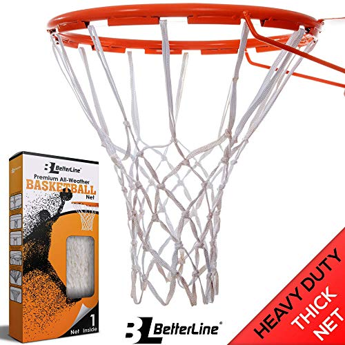 (BETTERLINE Premium Quality Professional Basketball Net Replacement - All-Weather Heavy Duty Thick Net Fits Standard Indoor and Outdoor 12-Loop Rims (White))