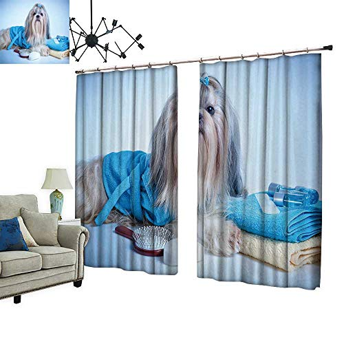 PRUNUS Thermal Insulated Drapes with Hook Shih tzu Dog After Washing with Bathrobe,Towels and Comb Soft Blue Background Tint Windproof Function,W84.3 xL84.3