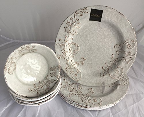 Il Mulino New York Eight (8)-Piece Antiqued White / Cream Melamine Dinner Plates and Bowls Dinnerware Set (Service for four)