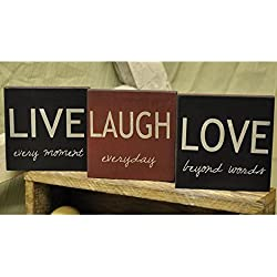 Live, Love, Laugh - Square Desk Sign Set of 3 (Live every moment, Love beyond words, Laugh everyday)