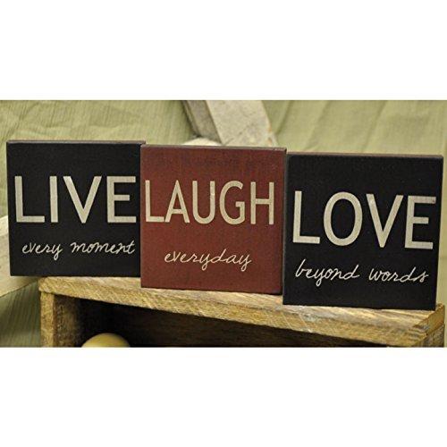Live, Love, Laugh - Square Desk Sign Set of 3 (Live every moment, Love beyond words, Laugh everyday) (Decor Live Laugh Love Plaques)