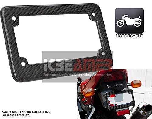 Bolt Style Cowl (ICBEAMER Racing JDM Style Universal Fit any kind of Motorcycle Real Carbon Fiber License Plate Frame [Pack of 1 pc])