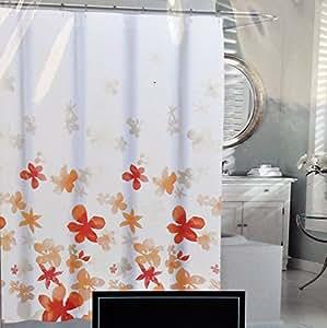 Amazon Com Cynthia Rowley Orange Floating Flower Fabric Shower Curtain Light Dark Orange Floral