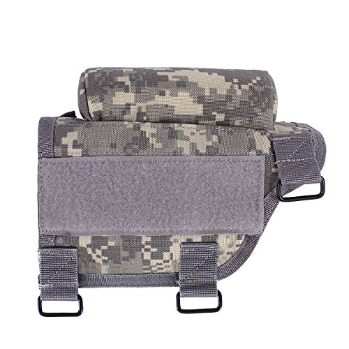 Tactical Buttstock Cheek Holder with Zippered Utility Pouch and Ammo Carrier for Refiles (Soil-Right)