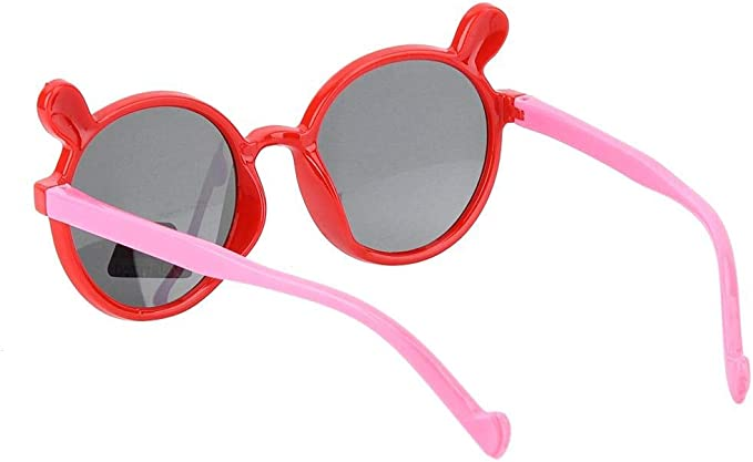 Baby Sunglasses Pink Cartoon Soft Silica Gel Sunglasses Fashion Children Silicone Eyeglass Photograph Prop Gift for Baby Boys and Girls 2 3 4 5 Year Old