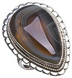 StarGems(tm) Natural Botswana Agate Handmade Indian 925 Sterling Silver Ring, US size 7.25