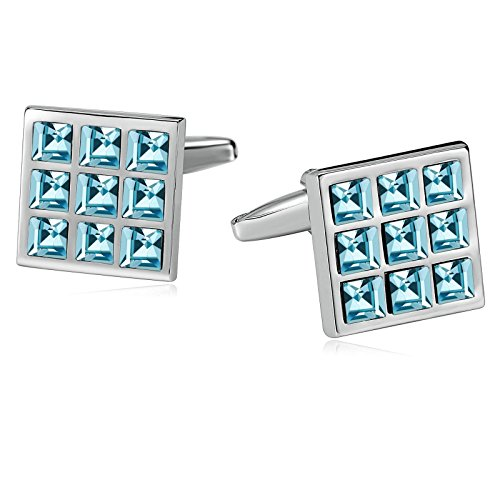 AmDxD Jewelry Stainless Steel Cuff Links for Mens 9 Grid Square Light Blue (Duke Blue Devils Cufflinks)