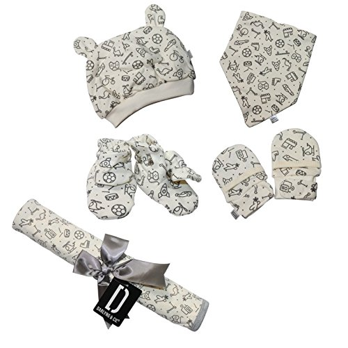 Darlyng & Co.'s Newborn Baby Essentials Gift Set (7 Pieces) 0-6 Months: Includes- Blanket, Hat, Scratch Mitten, Bib, Booties (Grey- Heather)