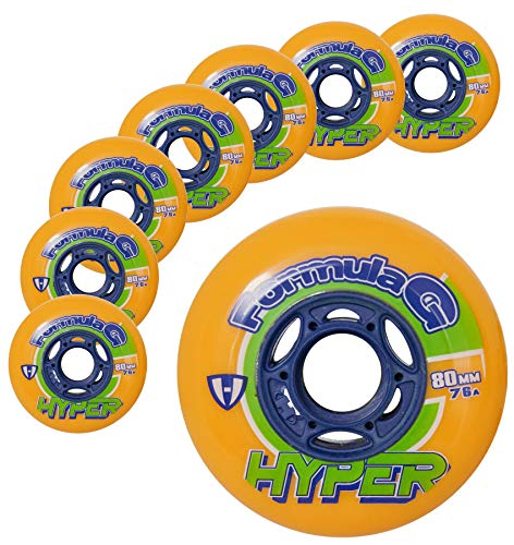 Hockey Skate Wheels Hyper Formula G ERA - 8 Wheels - 74A/76A - 80 MM (Orange) ()