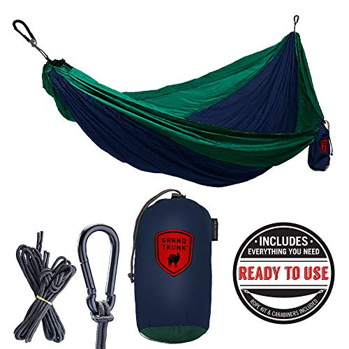 Grand Trunk Double Hammock: Lightweight Strong Parachute Nylon, Portable for Camping, Backpacking, Beach and Travel (Includes Hanging Kit), Blue/Green ()