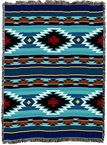 Navajo Pattern - Pure Country Weavers | Balpinar Southwest Blanket | Woven Throw with Fringe Cotton USA 72x54