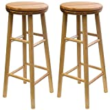 K&A Company Beechwood Swivel Bar Stool (Set of 2), 31 x 13 x 68 lbs