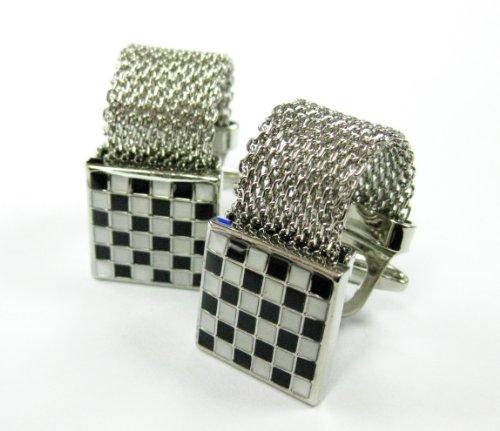 Chain White Cufflinks - Tailor B Wrap Around Stainless Steel Chain Cufflinks Black and White Checkers Cuff Links 103005-1 Gemelos