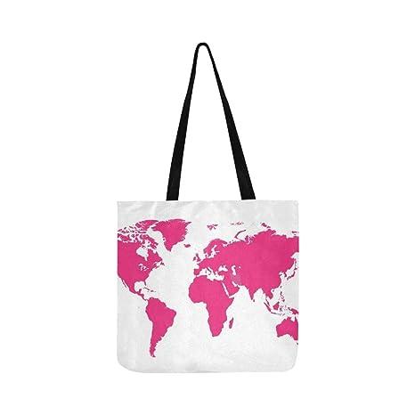 Mapa del mundo Color rosado Diseño plano Lienzo Bolso de ...