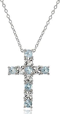 Vintage Sterling Silver Emerald /& White Topaz Cross Pendant