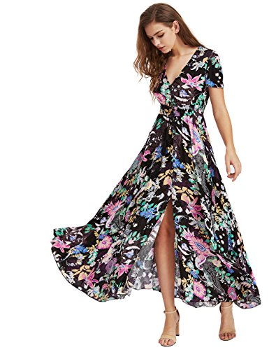 Milumia Women's Button Up Split Floral Print Flowy Party Maxi Dress Medium Black ()