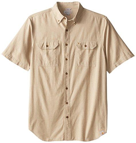 Carhartt Men's Big & Tall Fort Short Sleeve Shirt Lightweight Chambray Button Front,Dark Tan Chambray,X-Large Tall