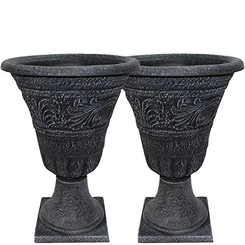 Tumbled Scroll 16 in. Weathered Black Urn Pack (2-Set) (Large Outdoor Urns Planters)