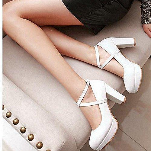 f2cfbf54 PU Elegante Moda Simple De La Mujer Tacones Zapatos De Dama De Honor Tacones  De Novia