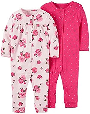 Just One You Baby Girls' 2 Pack Jumpsuits Floral Pink/white