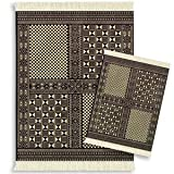 Lextra West Aftrican Bogolanfini MouseRug and CoasterRug Set, 10.25 x 7.125 Inches, Black and Cream, One MouseRug and One Matching CoasterRug (MWB-S), Best Gadgets