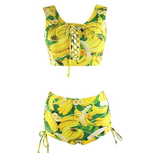 Creabygirls Womens Plus Size Print High Waist Two Piece Lace up Swimsuits (Large, Banana (Banana Suit Women)