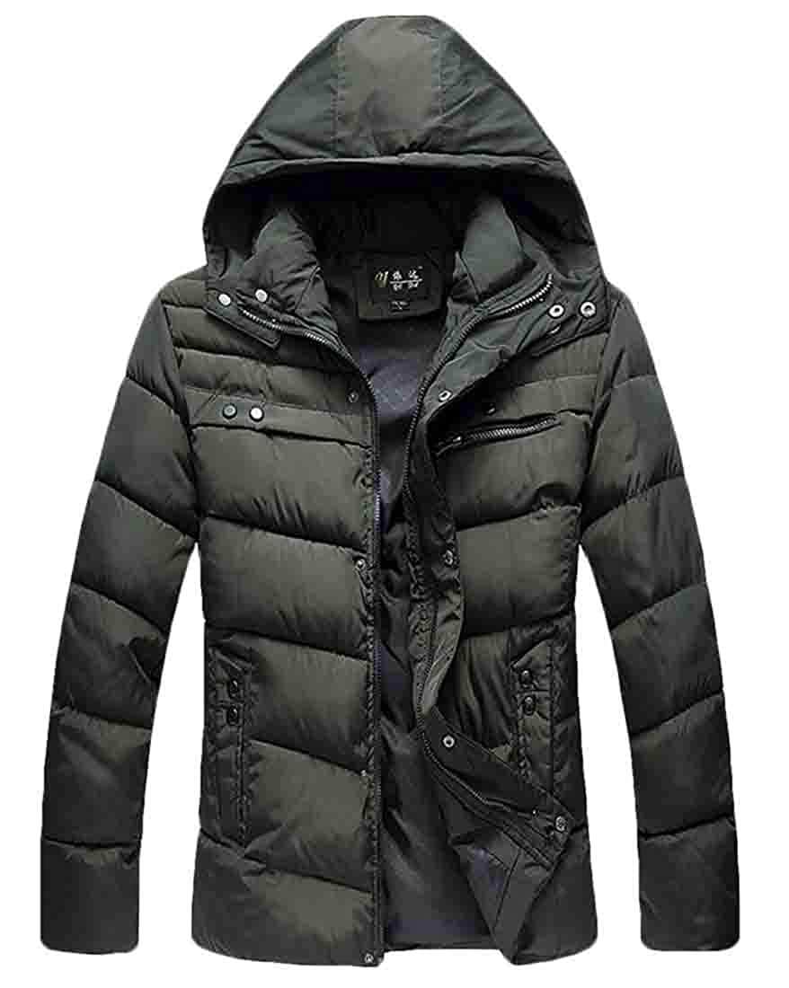Hilization Men Winter Thermal Coat Thicken Hooded Padded Quilted Outerwear Puffer Jacket