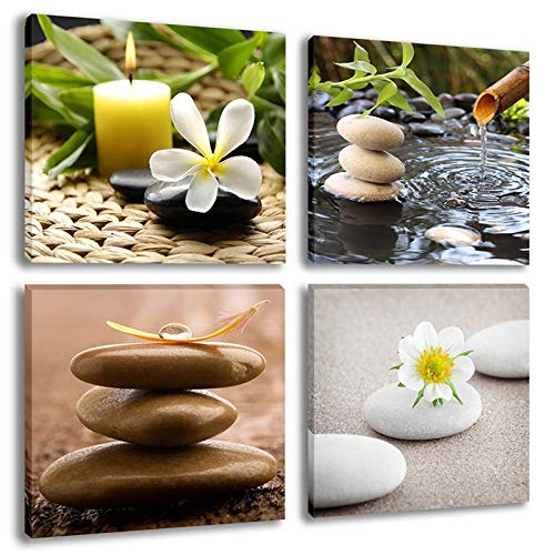Inzlove Zen Stone Still Life Modern Canvas Wall Art Green Bamboo Fountain with Jasmine Flower Painting Pictures for Home Decor