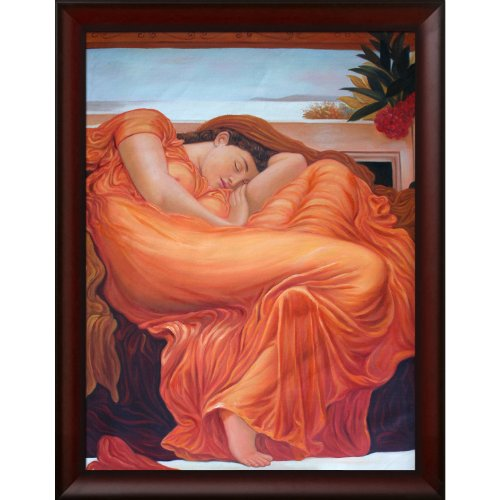 overstockArt LF3157-FR-988330X40 Flaming June Framed Oil Reproduction of an Original Painting by Lord Frederic Leighton