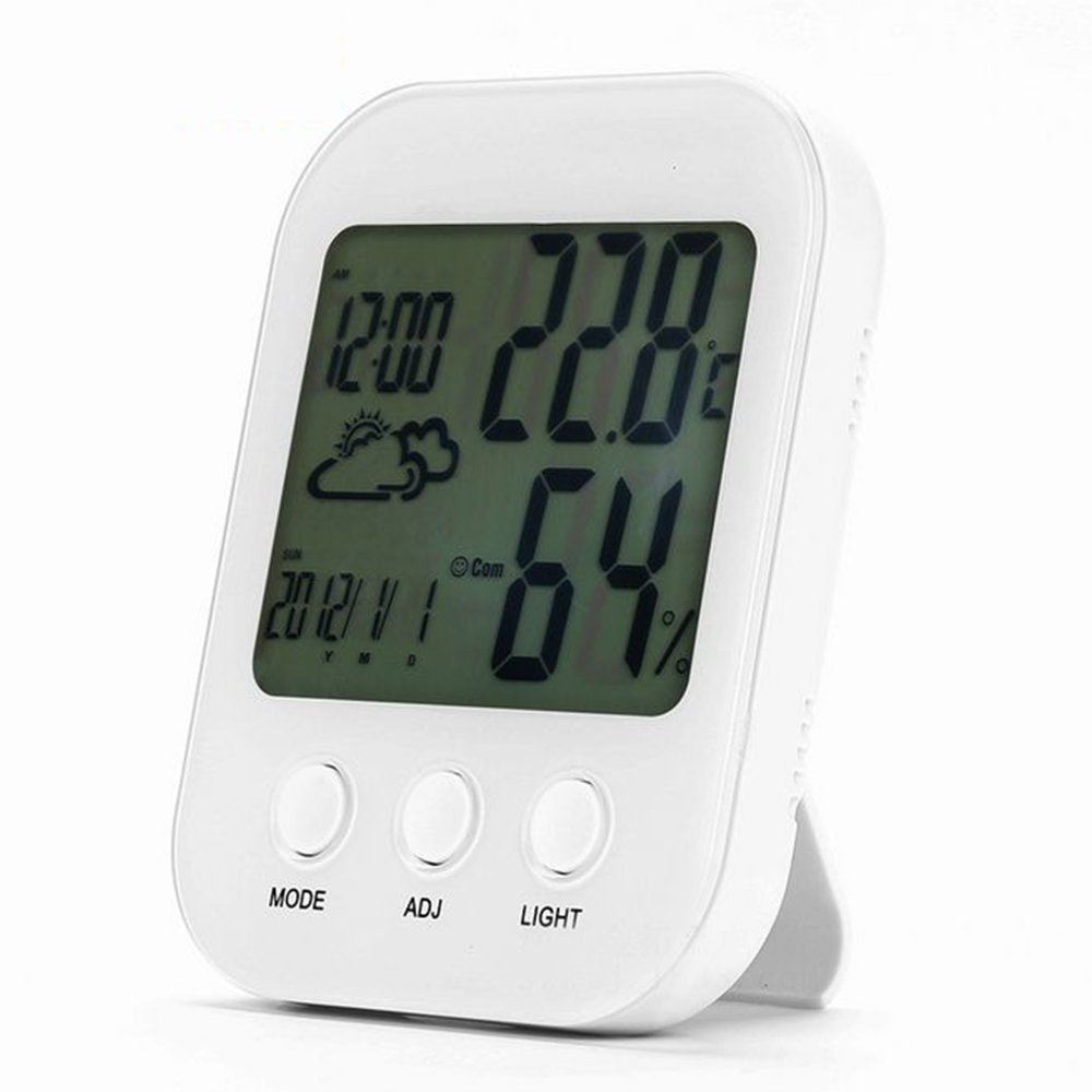 Mini Digital Hygrometer Indoor Thermometer,Multifunctional Humidity Gauge,Digital clock with Backlight Temperature Humidity Monitor